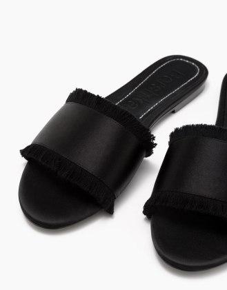 Bershka claquettes satin noir